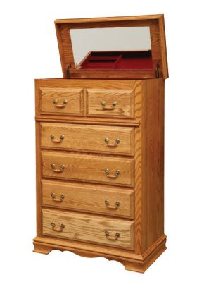 "Item #AH-121 <b>American Heritage 5-Drawer Chest<br> w/Lift Top</b>  35""w x 19""d x 52""h"