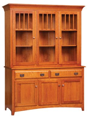 "#MONH-111  <b>Monterey 3-Door Hutch </b> 66"" x 19"" x 82""<p> <b>Optional Hutch Features</b>    • Touch Lighting and Glass Shelves"